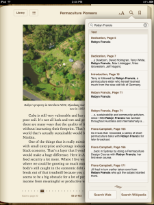 Permaculture Pioneers - Using the search function on .ePub version as viewed on an iPad