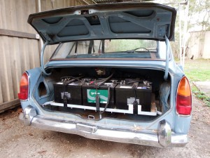 Nine batteries sit in the boot, one used for ancillaries. A total of ten deep cycle lead acid batteries provide power.