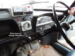 Dash of the Morris 1100 EV, with Amp and Volt meters added along with a lever to control direction