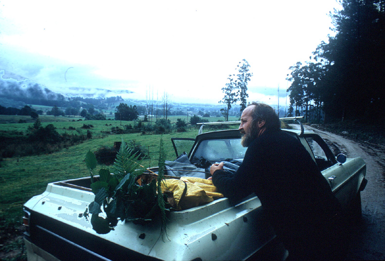 Bill Mollison during a plant stock collecting trip around Tasmania in 1975.